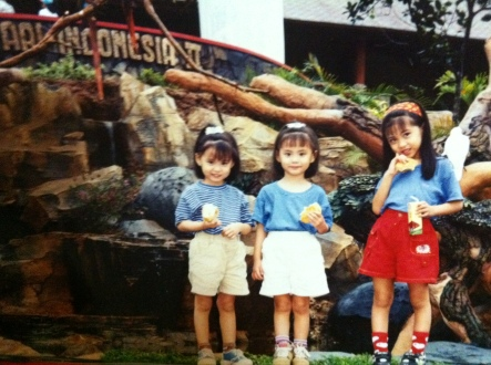 A picture we took with our older sister in the Surabaya Safari Park.